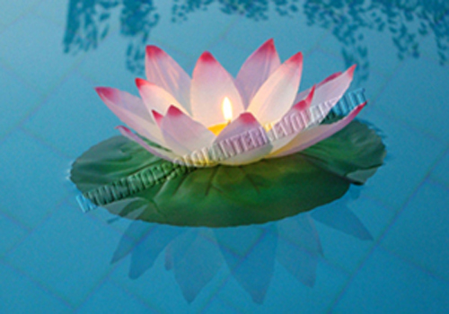 Lanterne galleggianti fiore di loto rosa for Candele per piscina