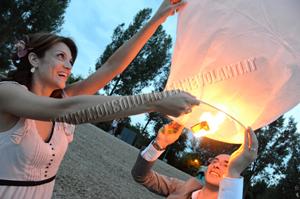 Lanterne volanti per gli sposi