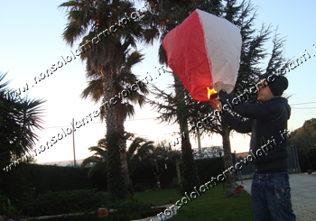 Lanterna volante bianco rossa